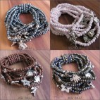bali designs charms bracelet stretch glass beads