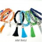 crystal beads bracelets stretch handmade tassels