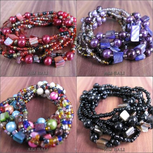 multi seeds beads stretch bracelet bali