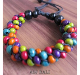 multiple color wood bead bracelet handmade