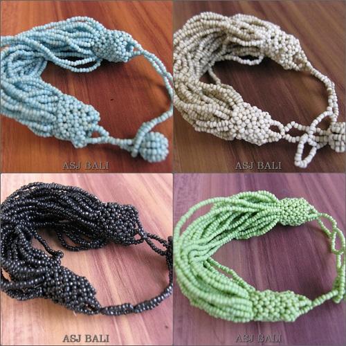 multiple seeds beads bracelets mono color