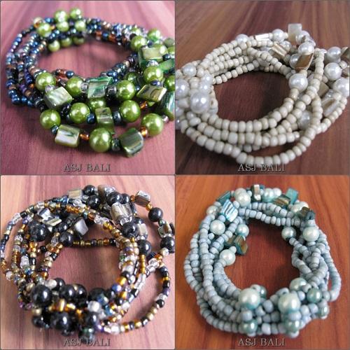 multiple strand beads bracelet bali style