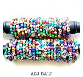 skull beads bracelet stretch bali size M