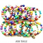 skull beads bracelet stretch multiple color size L