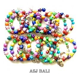 skull beads bracelet stretch multiple color size L