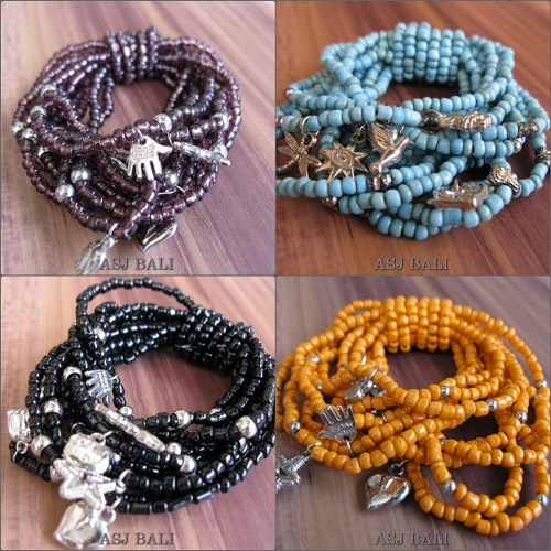 stretches beads bracelets charms multiple seeds