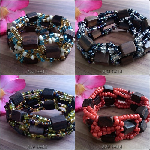 4color natural wood beads stretches bracelet
