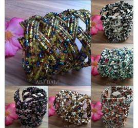 bali large size handmade cuff beads glass bracelet