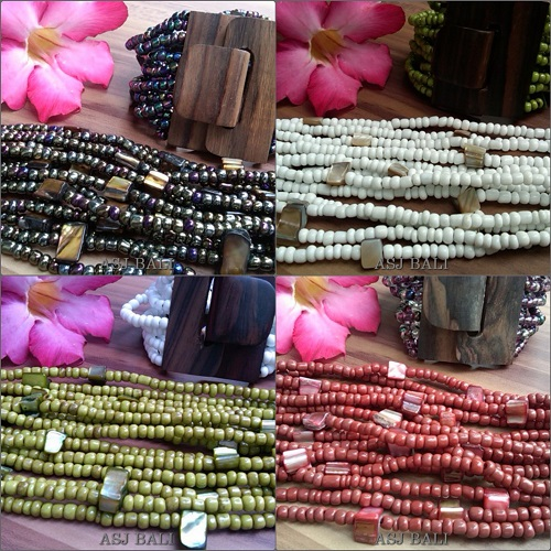 bali wood clasps beaded bracelet stretching