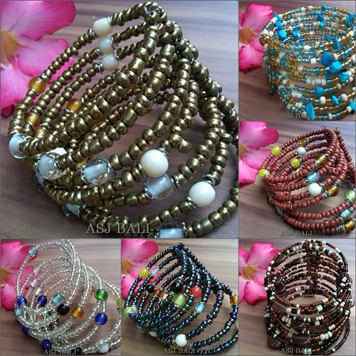 beads cuff glass bracelets spiral balinese designs