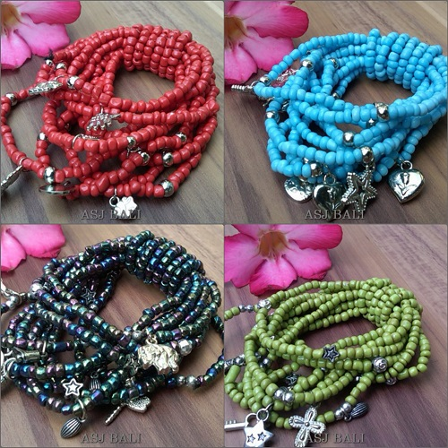 charming bracelet stretch multi seeds