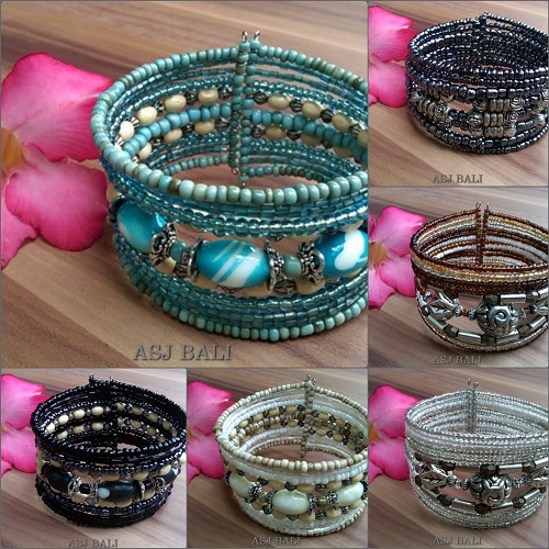 cuff beads bracelets crystal glass handmade medium