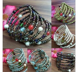 cuff glass beads bracelets spiral made in bali