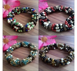 ethnic beads with wood bracelet stretch bali