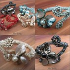 flower shell beads bracelet cuff exotic designs