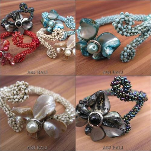 flower shell beads bracelet cuff exotic designs