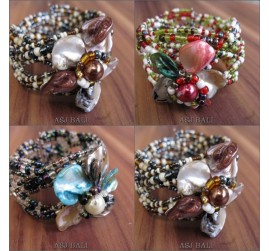 flower shells beads cuff bracelet fashion accessories
