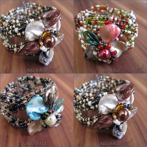 flower shells beads cuff bracelet fashion accessories