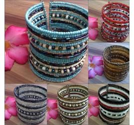 large cuff wide beads bracelet motif