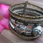 medium cuff bracelet glass beads with stainless