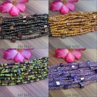 multi strand wood buckle beads bracelet