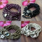 multi strand stretch bracelet charms bali