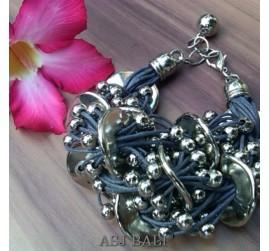 multiple line leather charms bracelet fashion