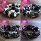 natural wood beads stretch bracelet 4color