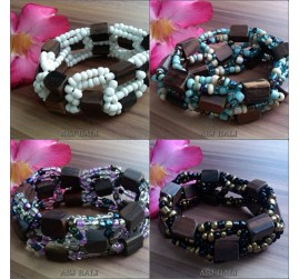natural wood beads stretch bracelet 4color