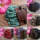 wooden buckle natural stretch bead bracelet