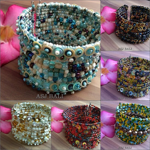 bali beads style designs wide cuff mix