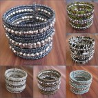 cuff beads bracelets long with silver beads