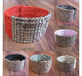 cuff beads bracelets silver front designs