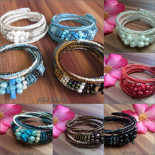 handmade beads bracelet glass beads mix color