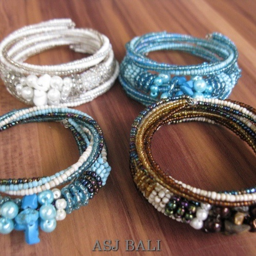 4color handmade beads bracelet glass beads mix color