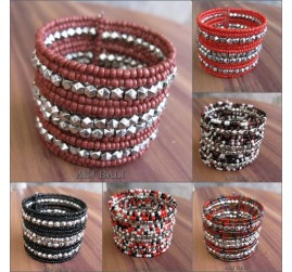 mix color handmade beads cuff bracelet from bali
