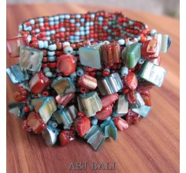 Stretch Beads Bracelets with Shells