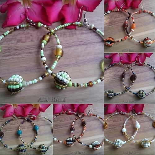 bali beads earrings circle ball 6 color