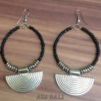 bali beads earrings handmade charm fan black