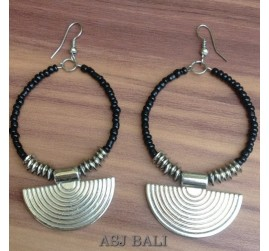 bali beads earrings handmade charm fan black