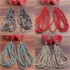 bali beads earrings multiple seeds hooked 4color