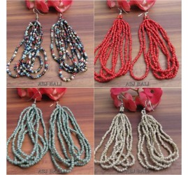 bali beads earrings multiple seeds hooked 4color