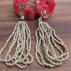 bali beads earrings multiple seeds hooked beige