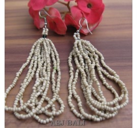 bali beads earrings multiple seeds hooked beige