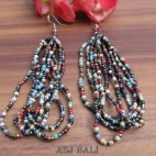 bali beads earrings multiple seeds hooked mix