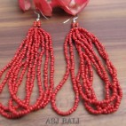 bali beads earrings multiple seeds hooked red color