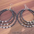 bali beads earrings triple seeds beads abalone