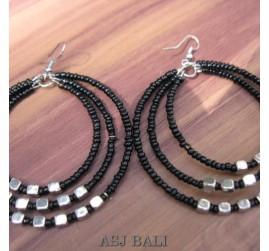 bali beads earrings triple seeds beads black