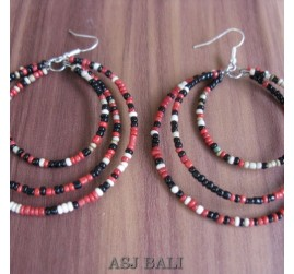 bali beads earrings triple seeds beads mix color