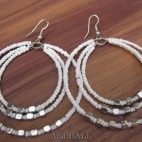 bali beads earrings triple seeds beads white